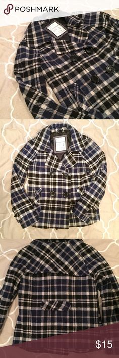 Plaid Pea Coat Gorgeous pea coat from Aeropostale! Extra button in pocket in case you lose one. Very good condition. 60% wool 35% polyester 5% other fibers. No trades. Black and dark navy. Aeropostale Jackets & Coats Pea Coats