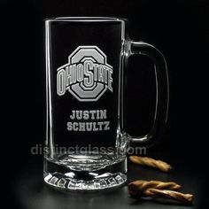 Etched Glass SPORTS BEER Mugs Football Hockey by distinctglass, $26.00
