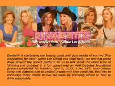 """Tune in to """"Diabetes Roundtable Inspired by Kathie Lee and Hoda"""" hosted by Mr. Divabetic on 4/9/2013 6:00 PMEDT #BlogTalkRadio  http://www.blogtalkradio.com/divatalkradio1/2013/04/09/diabetes-roundtable-inspired-by-kathie-lee-and-hoda"""