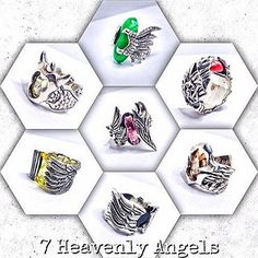 7 Heavenly Angels Ring. Full Silver Casting.