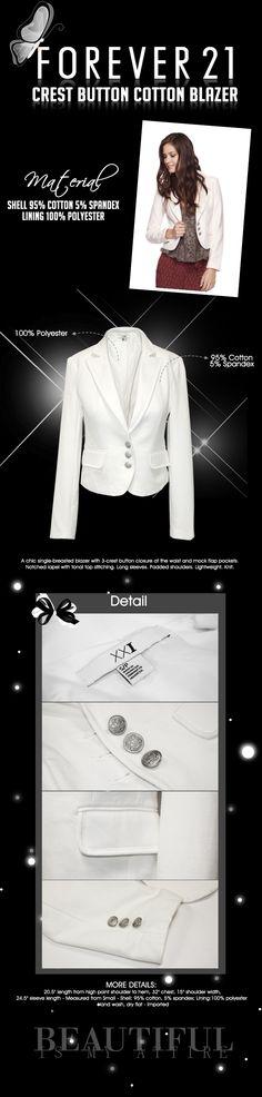 white blazer Cotton Blazer, Cotton Spandex, My Design, Lifestyle, Blouse, Board, Tops, Women, Fashion
