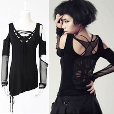 Women Black Long Sleeve Gothic Punk Emo Skull Top Alternative Clothing SKU-11409086