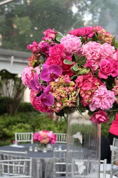 #centerpiece  Photography:   Read More: http://stylemepretty.com/2009/06/25/wedding-colors-a-profusion-of-pink-and-grey-from-weddings-and-the-city/