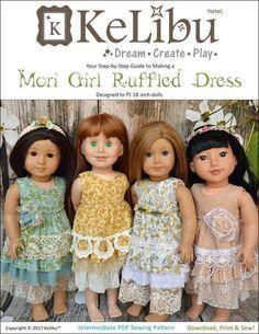 "Mori Girl Ruffled Dress 18"" Doll Clothes"