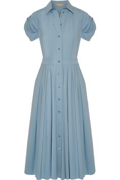 Michael Kors Collection - Pleated Cotton-blend Poplin Midi Dress - Sky blue - US12