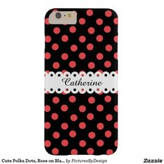 Cute girly phone case, Rose polka dots on black, personalize with your name, scripted in black on the white ribbon.