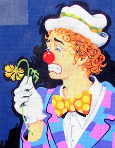 FREE SHIPPING//*Needlepoint Canvas by Royal Paris. A Vintage Needlepoint of A Red Head Clown/Red Nose//Bow Tie/Wilted Flower. //On SPECIAL!!