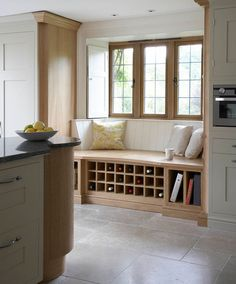 Kitchen Window Seat solid english oak window seat with wine rack and book shelves