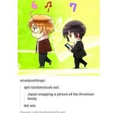 Japan snapping a picture of the American booty Spamano, Usuk, Hetalia America, Hetalia Japan, Hetalia Anime, Hetaoni, Hetalia Funny, Hetalia Axis Powers, 19 Days