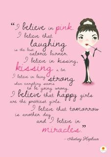 Audrey Hepburn Illustration Quote Print I Believe in by Smogawoo