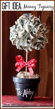 the cutest way (and it looks super simple) to give a cash gift - - money topiary tree gift tutorial - - love this idea!! -- Sugar Bee Crafts