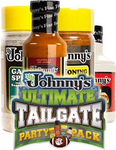 Johnny's Ultimate Tailgate Party Pack: Jamaica Me Sweet Hot & Crazy French Dip Au Jus Concentrate Garlic Spread Johnny's Seasoning Salt