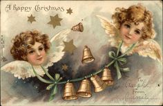 Vintage Christmas Post Card, Angels with Wings and Bell Garland A Happy Christmas