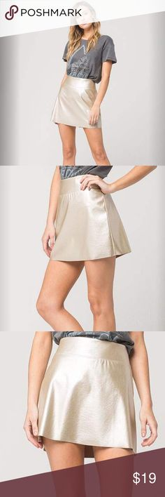 """⛓Metallic Skirt Full Tilt Metallic skirt. Make a statement for Girl's Night Out. This faux leather metallic skirt features a flat waistband with a slightly flared skirt. Back zip for easy on and off. Raw edge hem. Approx length: 15"""". 100% polyester. Skirts Mini"""
