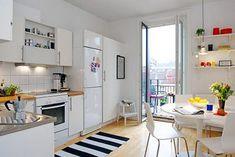 Cocina pequeña, Small tiny kitchen, cocina-comedor, iluminación, decoración, decoration