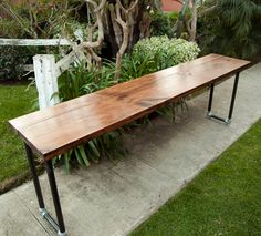 The Woodford Console Table - Handmade Wooden Desk/Console Table with Galvanized Steel Pipe Legs