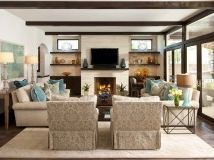 living room set up idea - two couches facing each other in front of fp and two chairs!