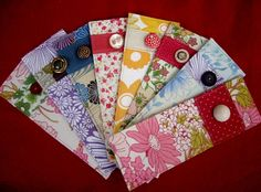 DIY fabric&button bookmark! button prevents bookmark from slipping through the pages.