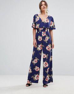7c40e9d365a Miss Selfridge Floral Print Knot Back Jumpsuit