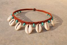 Cowrie Choker / Shell Necklace / Cowrie Shell Macrame Collar