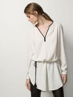 LARGE STRIPED TWILL BLOUSE
