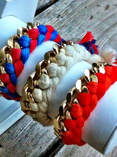 Coral red and orange woven chain friendship by lizaslittlethings, $18.00