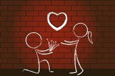 dibujo de pareja en la pared