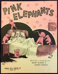 Pink Elephants vintage sheet music