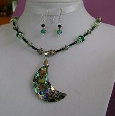 DISCOUNT BOGO...ABALONE Moon Necklace Earrings by MyGrandmasHome, $18.99