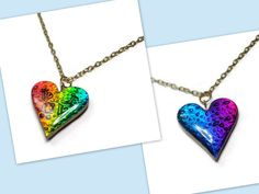 Heart Reversible Pendant- Heart Statement Necklace- polymer clay Jewelry- Ready to Ship- Faux Dichroic Necklace - pinned by pin4etsy.com