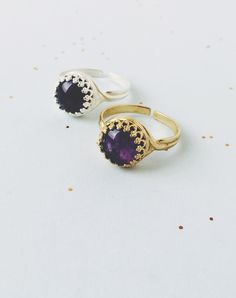 """Indira, meaning """"beauty"""", features a gorgeous Amethyst cabochon set inside a silver plate or golden brass ring. Amethyst is a highly..."""