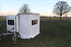 Mogo Freedom gullwing trailer hauls outdoor gear, sleeps two.  Add one or two awnings and effectively double or triple the size of your outdoor shelter