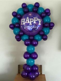 Nice Birthday Balloon Centerpiece In Purple And Teal Love The Idea Of Using Link A Loons To Frame Foil At Top