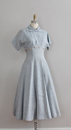1950s linen dress #daydress #vintage #frock #retro #teadress #romantic #feminine #fashion