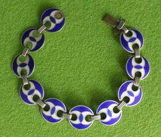 Vintage Mid Century Modern J TOSTRUP Norway Sterling Silver Blue Enamel Bracelet #JTOSTRUP #Chain