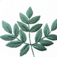 Aralia Spinosa Leaves Embroidery Hoop Dark Green by SewandSaunders