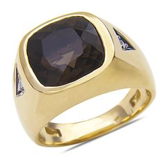 Ebay NissoniJewelry presents - Men's Diamond Accent Smokey Quartz Ring 10k Yellow Gold with Closed Back    Model Number:GRV3313A-Y077SMQ    http://www.ebay.com/itm/Men-s-Diamond-Accent-Smokey-Quartz-Ring-10k-Yellow-Gold-with-Closed-Back/321612135253
