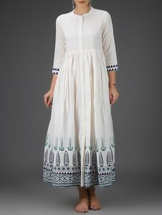 Buy Ivory Blue Green Block Printed Button Down Cotton Dress with Gathers Online at Jaypore.com