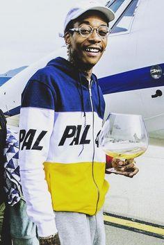 Wiz Khalifa wearing  Palace Selecta Tracksuit Bottoms, Palace Stripe Panel Zip Hoodie Jacket