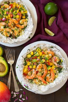 Shrimp and Couscous Foil Packets with Avocado-Mango Salsa - Cooking Classy