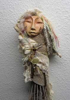 Folk Art Originals Charm and Button Collector, Assemblage and Polymer Clay Art.  ~ Signed by Griselda ~  This little Assemblage art doll is supported