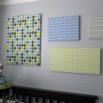 idea for wall to incorporate the different fabrics being used in the room