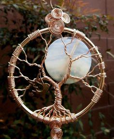 Full Moon Tree of life crystal suncatcher Large by LifeForceEnergy
