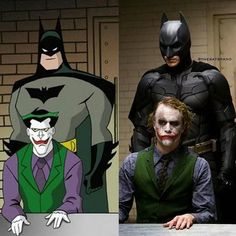 Batman & The Joker Live Action and The Animated Series Style The Dark Knight Trilogy, Batman The Dark Knight, Batman Dark, I Am Batman, Batman Vs Superman, Batman Universe, Dc Universe, Batman History, Batman Poster
