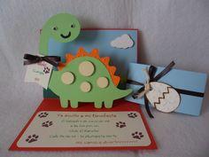 Invitación de Cumpleaños Infantil. en 3d. Temática: Dinosaurios.