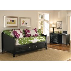 The Home Styles Bedford Storage Daybed and Expandable Desk Set is a versatile solution for multi-functional rooms. The daybed features two large storage drawers and doubles as sitting space while the desk can also be used as a nightstand or side table. Chest Furniture, Bedroom Furniture, Furniture Sets, Bedroom Decor, Pallet Furniture, Office Furniture, Daybed With Storage, Under Bed Storage, Daybed With Drawers
