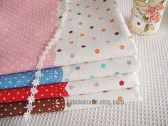 Set for 4 color Linen Cotton Fabric BUNDLE Pastel Background Polka Dots Linen Fabric- Lace Patch Colorful Dots Fabric Each 50cm X 55cm