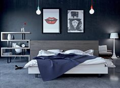 Gorgeous bedroom design with gray color... | Visit : roohome.com  #bed #bedroom #decoration #design #beautiful #amazing #awesome #great #gorgeous #fabulous #unique #simple