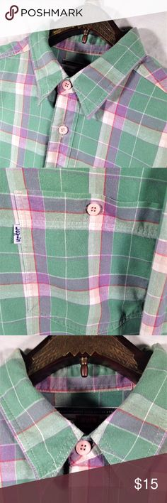 "Levi Strauss Large Long Sleeve Teal Purple Plaid Thank You for choosing Kross Threads! Condition: Excellent Pre-Owned Condition. No noticeable imperfections. While we strive for perfection, If any flaws are found please contact us for a solution. Label: Levi Strauss Material: Cotton  Color: Teal Purple Plaid Size: Large Measurements Pit to Pit (Across Chest): 23"" Length   (Top of Collar to Hem): 31"" Sleeves (Top of Shoulder to Cuff): 23.5"" Our mission is to provide unique quality style to…"