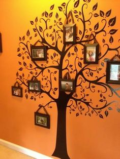 Family tree gallery wall by Theresa Inman Family Tree Wall, Tree Wall Art, Picture Wall, Picture Frames, Photo Wall, Decoration Entree, New Wall, Wall Design, Wall Murals